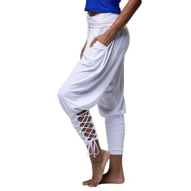 White Soft Solid Comfy Lace Up Leggings