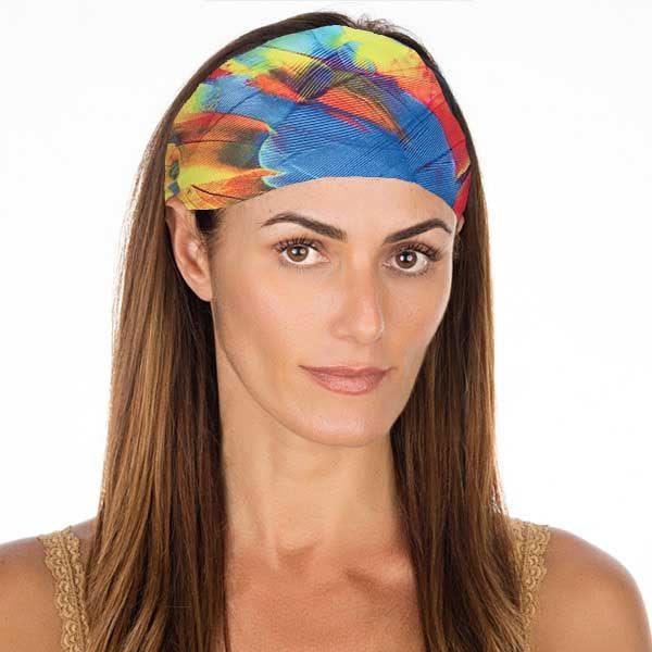 New! Rainbow Feathers Non Slip Headband