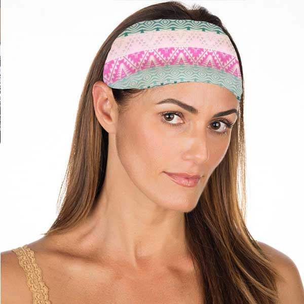 New! Teal & Pink Aztec No Slip Headband