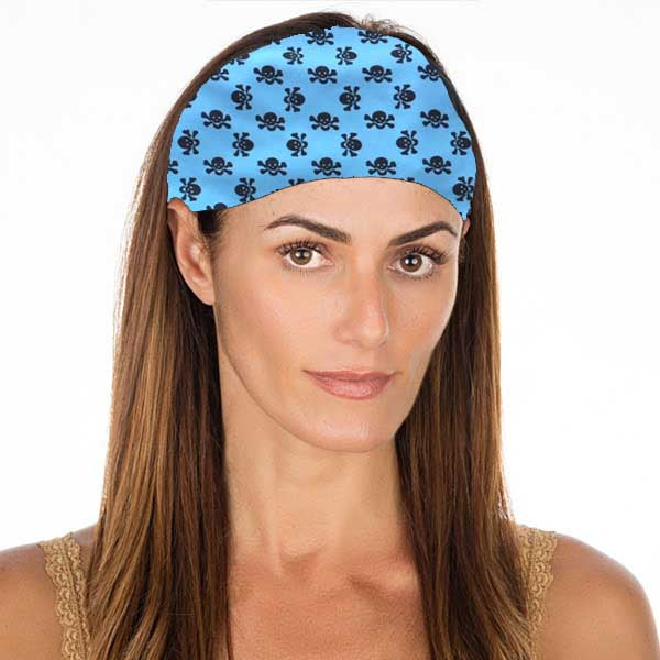 New! Cotton Turquoise Skulls No Slip Headband