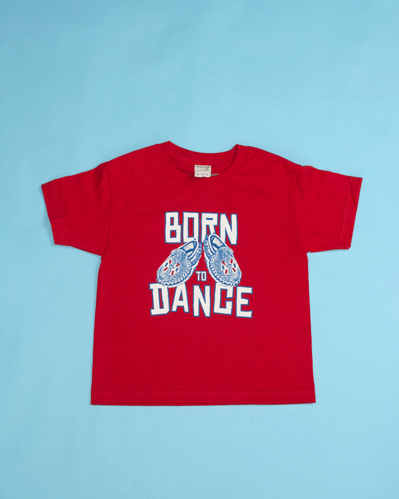 "Red T-shirt with Mini-Mocs & ""Born to dance"" tagline. Colourfast, water-based inks, printed on premium American Apparel, pre-washed 100% soft cotton. Sizes: Toddler size 4, Youth sizes: XS, S, M"