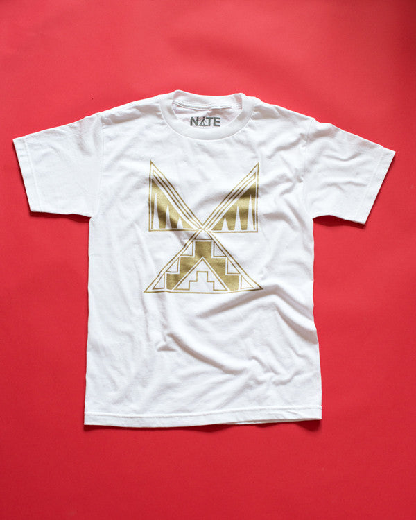 Tipi design in metallic gold ink screen-printed on a white 100% cotton t-shirt.