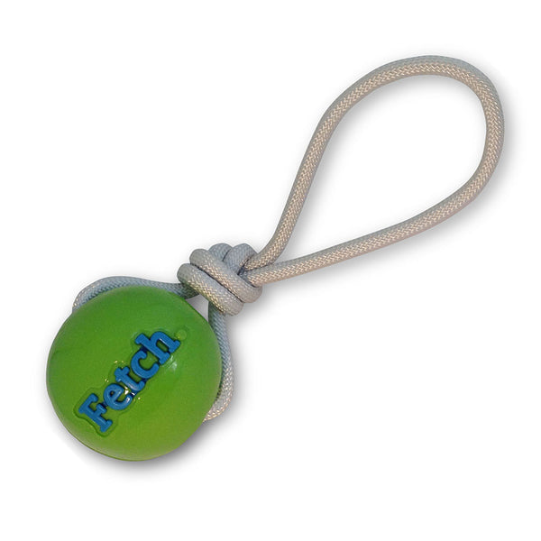 Orbee Tuff Fetch Ball with Rope - Green/Pink Assorted