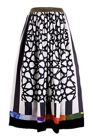 Arabic Printed Midi Pouffy Skirt