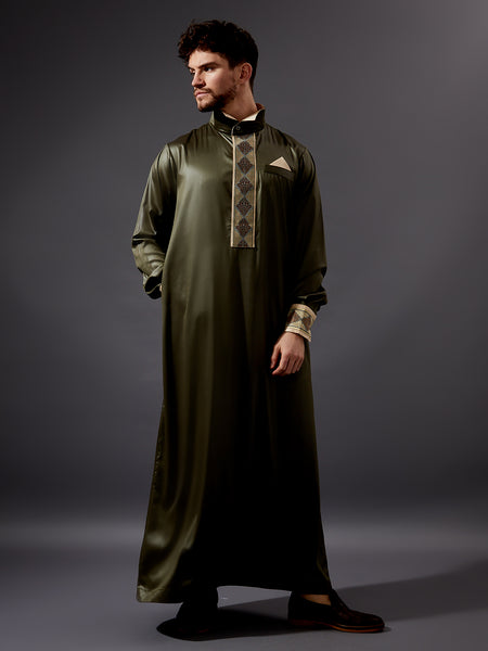 Formal Thobe 19 - Olive Classic Design