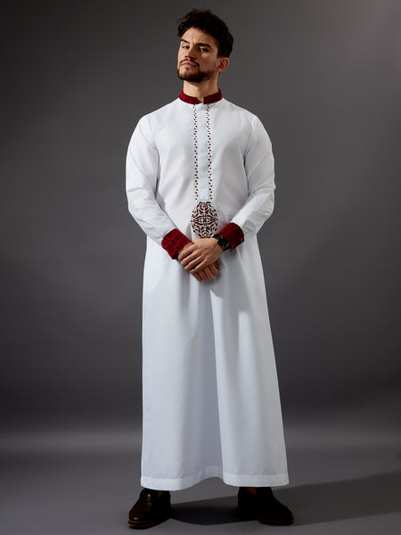 Formal Thobe 19 -  Smart White with Maroon Velvet
