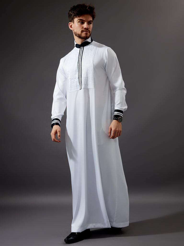 Formal Thobe 19 - Classic White with Black