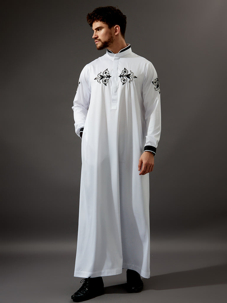 Formal Thobe 19 - White Smart with Black Motifs