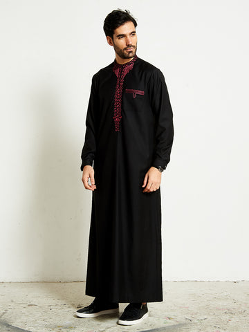 2020 Black formal thobe with maroon 1