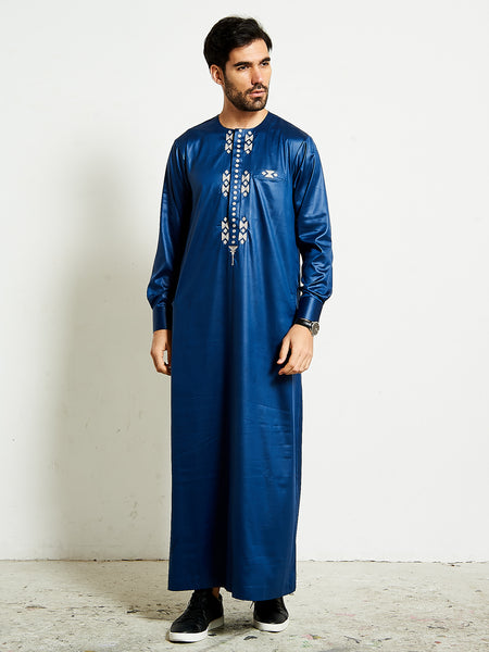 2020 Royal Blue formal thobe with silver 3