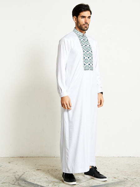 2020 white formal thobe with mint/green tone 4