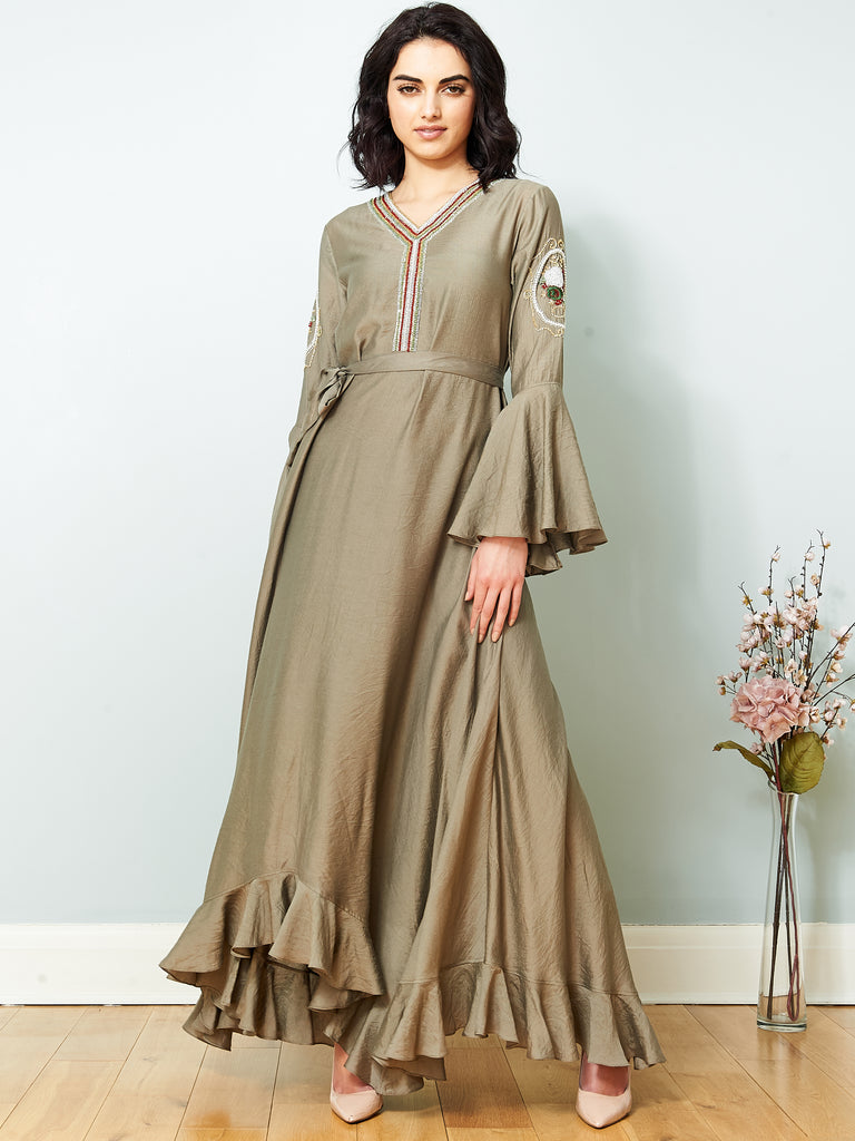 La Scintillate - Maxi Frill Dress with Hand embroidery - LOOK 14