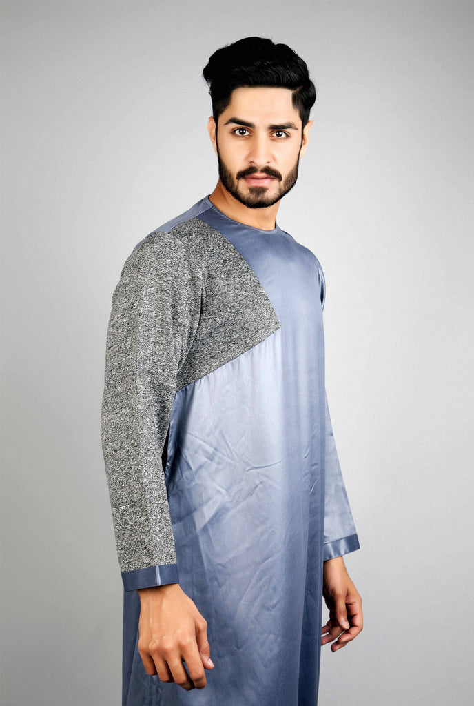 Chenille Mens thobe grey with ribbed sleeve
