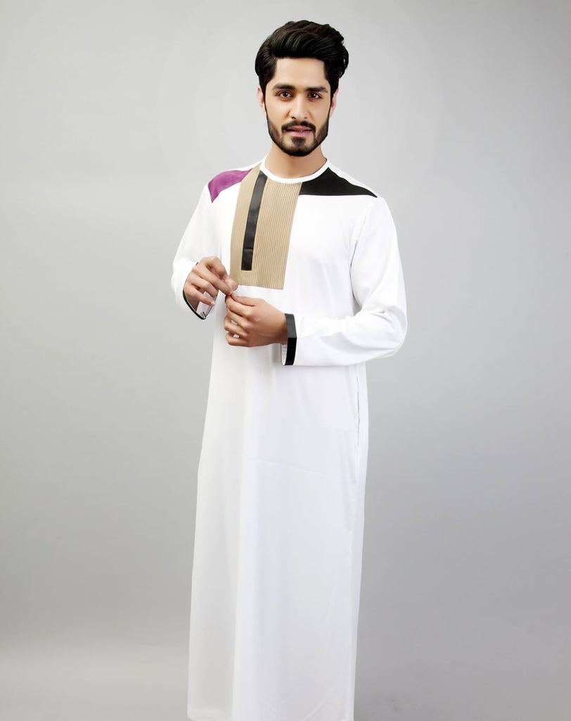 Chenille Mens white thobe with detailed top