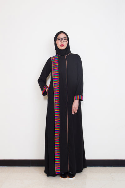 CWAB-124 Black/Colourful Abaya