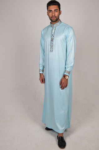 Formal Thobe 18 Sky Blue with Classic Embroidery