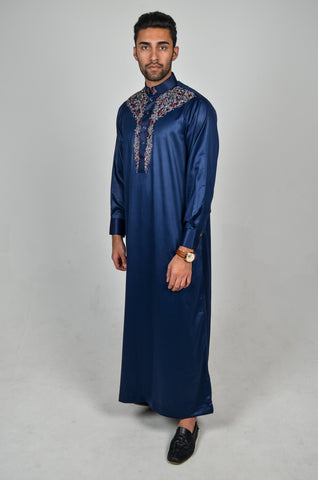 Formal Thobe 18 Navy with Classic Embroidery