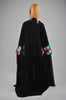 Black Open Abaya with Checked Detailing