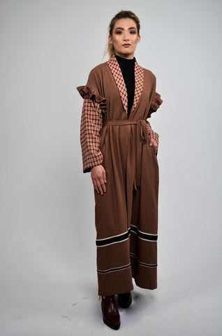 Long Cape with Frill Detail Brown
