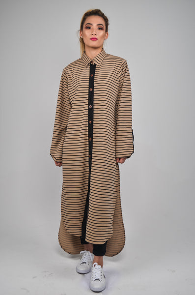 Shirt Dress - Camel / Black Stripe