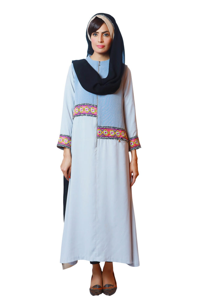 Chenille-Sky Blue Zipper Abaya-Casual
