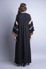 Black abaya with side zip pockets