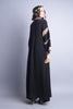 Black abaya with side zip pockets back