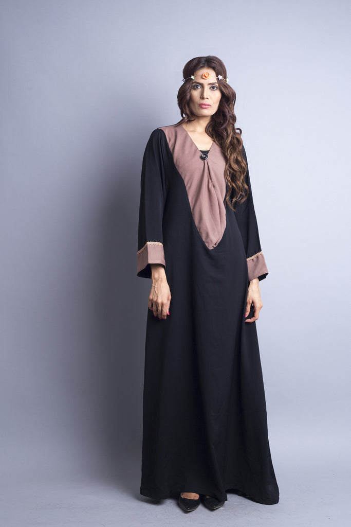 Chenille boutique casual abaya pink drape collar