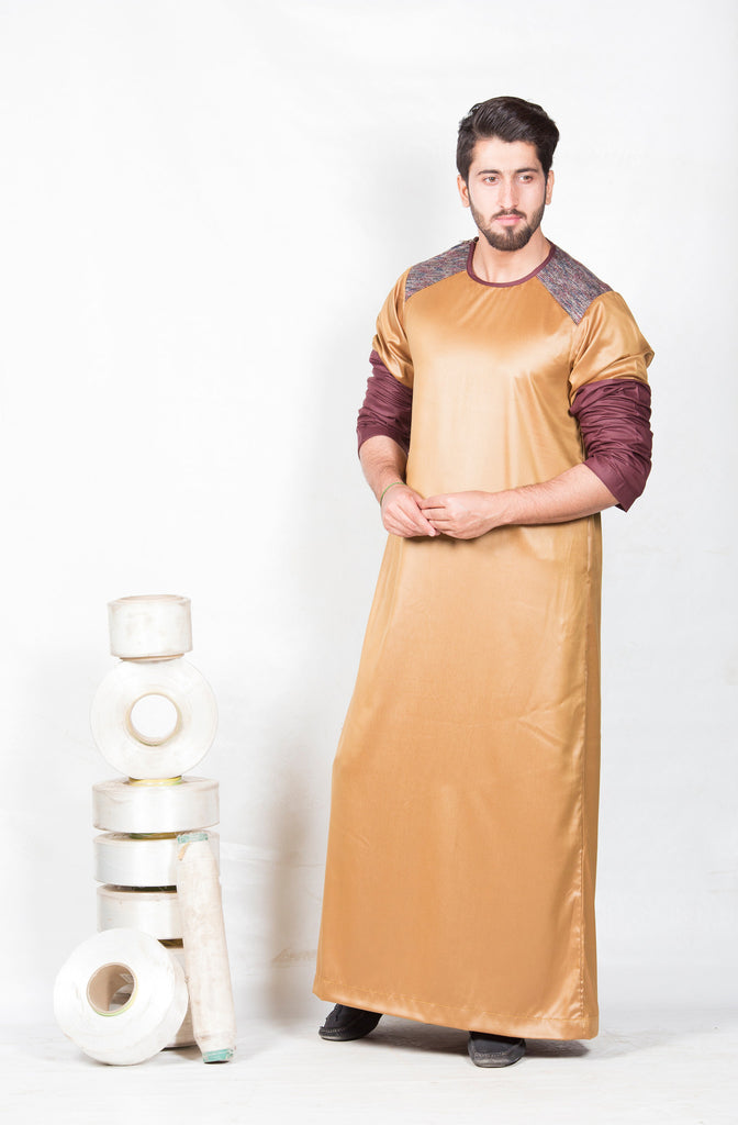 Tan Thobe with maroon detailing