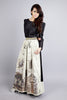 Newspaper print maxi skirt black