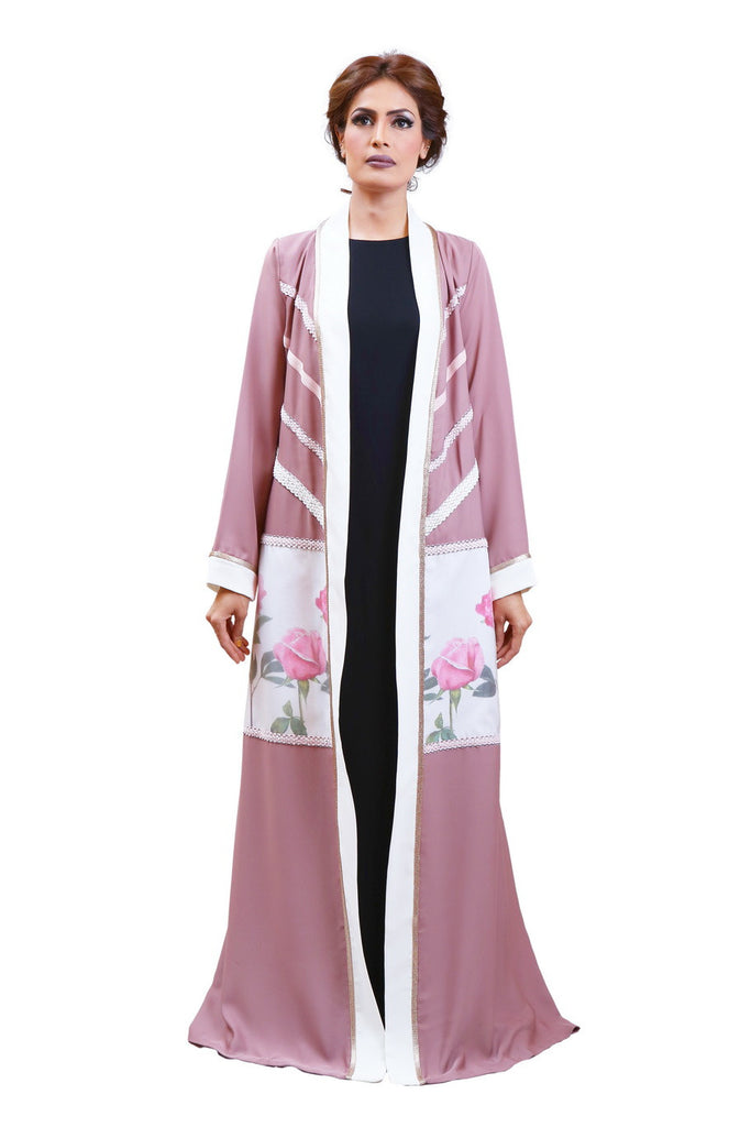 Chenille boutique rose print tweed detail abaya