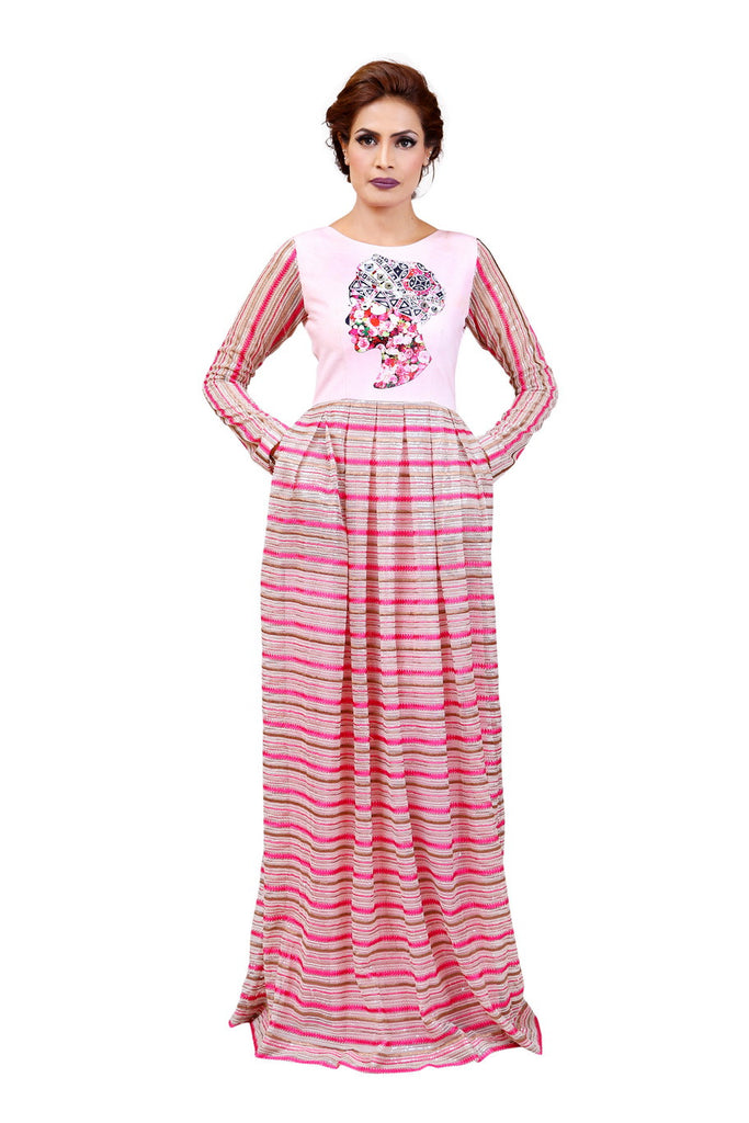Chenille boutique pink maxi dress modest