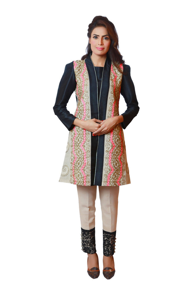 Chenille boutique Embroidered linen vest