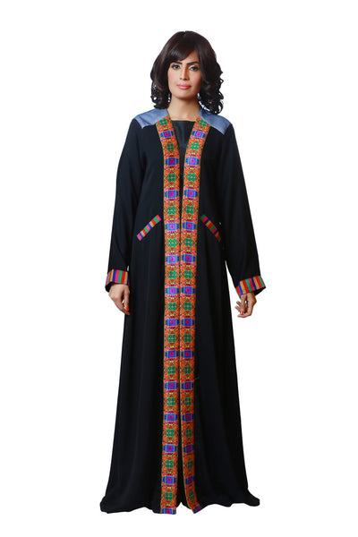 Chenille-Black Open Abaya-Colorful Shoulder Detailing