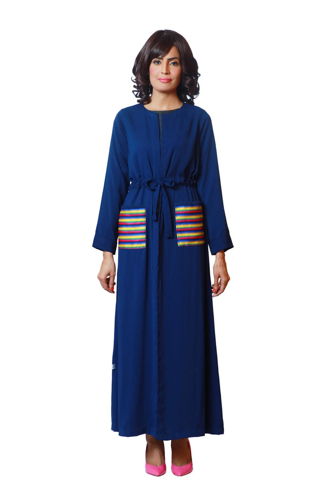 Chenille-Royal Blue Cape Dress-Adjustable