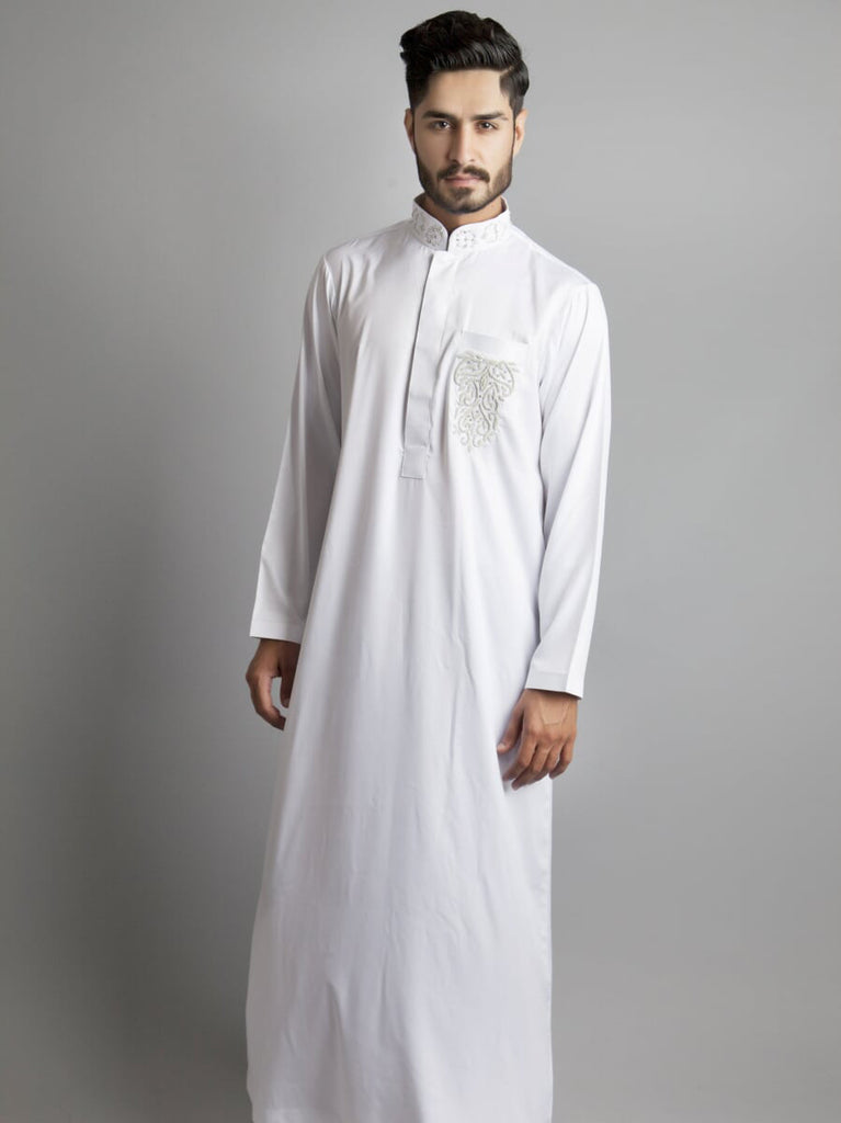 Chenille-White Formal Thobe/Jubbani-Custom Thobe