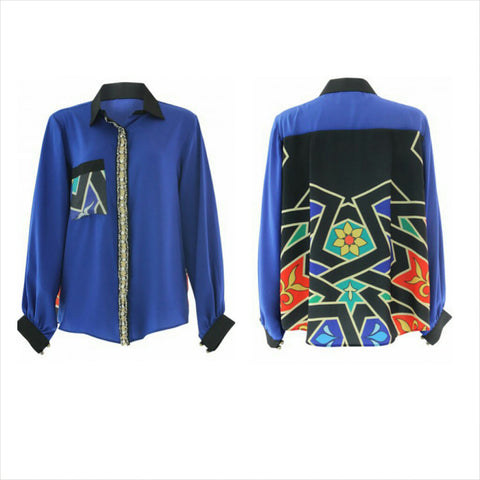 Trendy Womens Shirt - Royal Blue print shirt