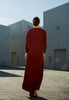 Long Red Shirt Dress Modest back