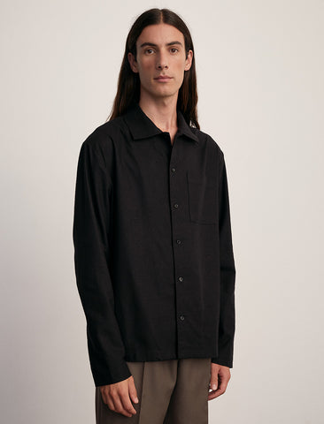 Another Shirt Black Raw Silk