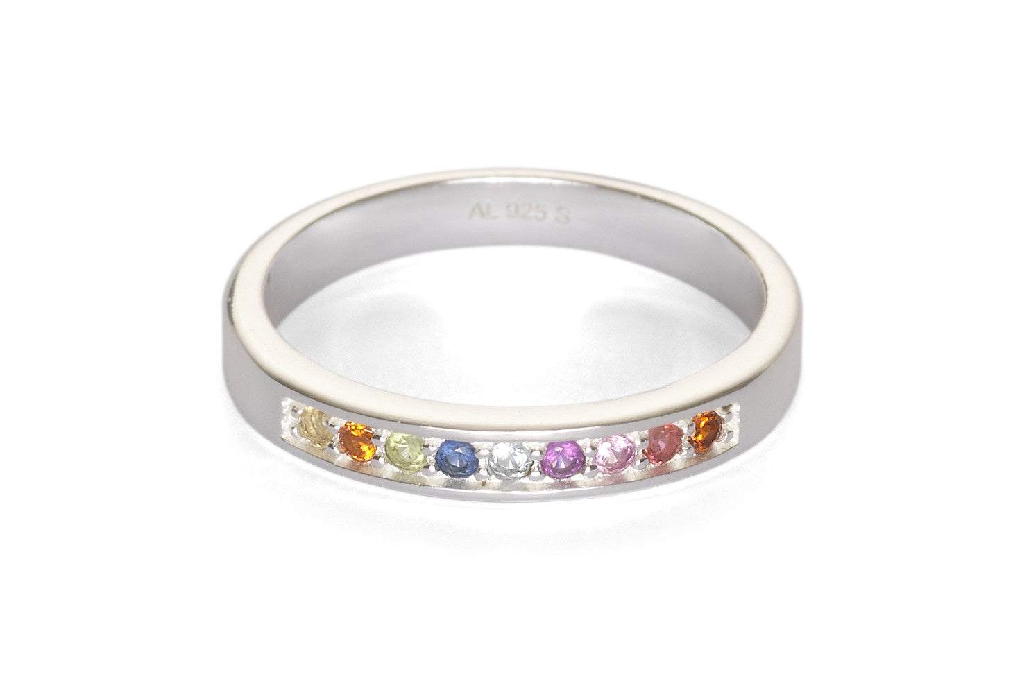 Nine Dots Silver Rainbow Ring