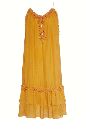 Hanne Bloch Apricot Silk Frill Dress