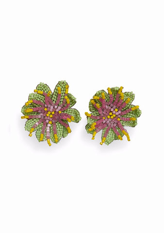 Aprosio & Co. Passionflower Clip On Earrings