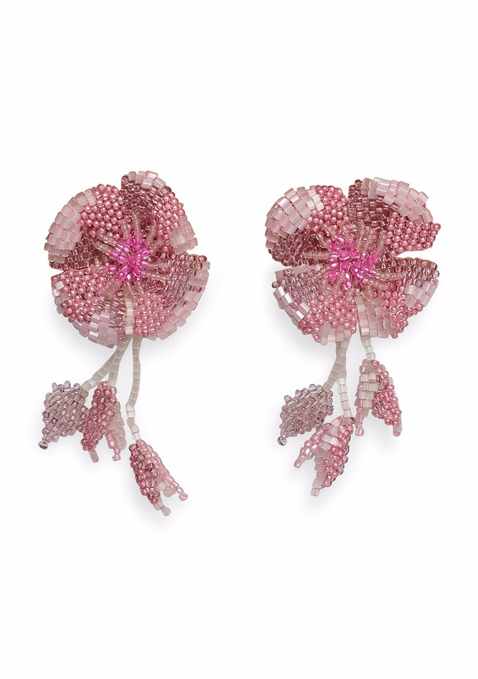 Pink Blossom Clip On Earrings
