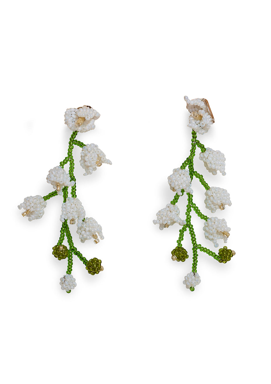 White Double Lily Earrings