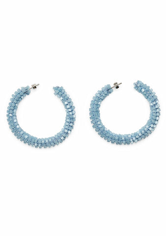Aprosio Baby Blue Hoop Earrings