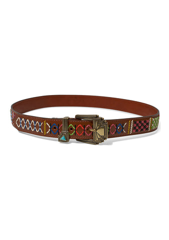 Etro Embroidered Leather Beltshop online at lot29.dk