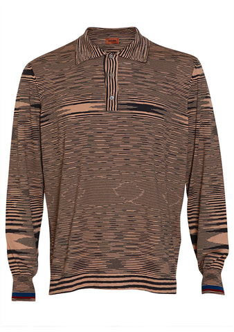 Missoni Men Beige Striped Polo Shirt