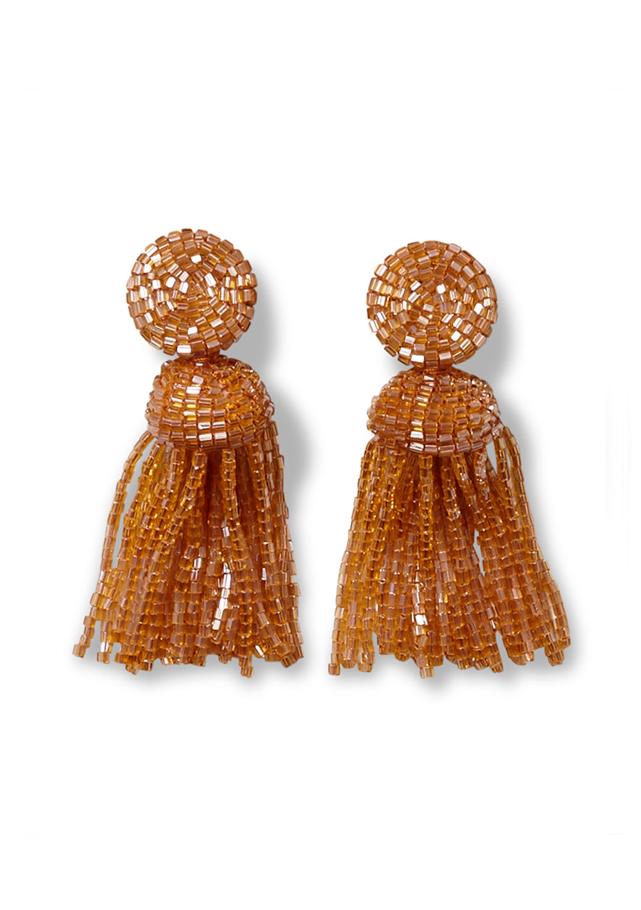 Toffee Tassel Clip On Earrings