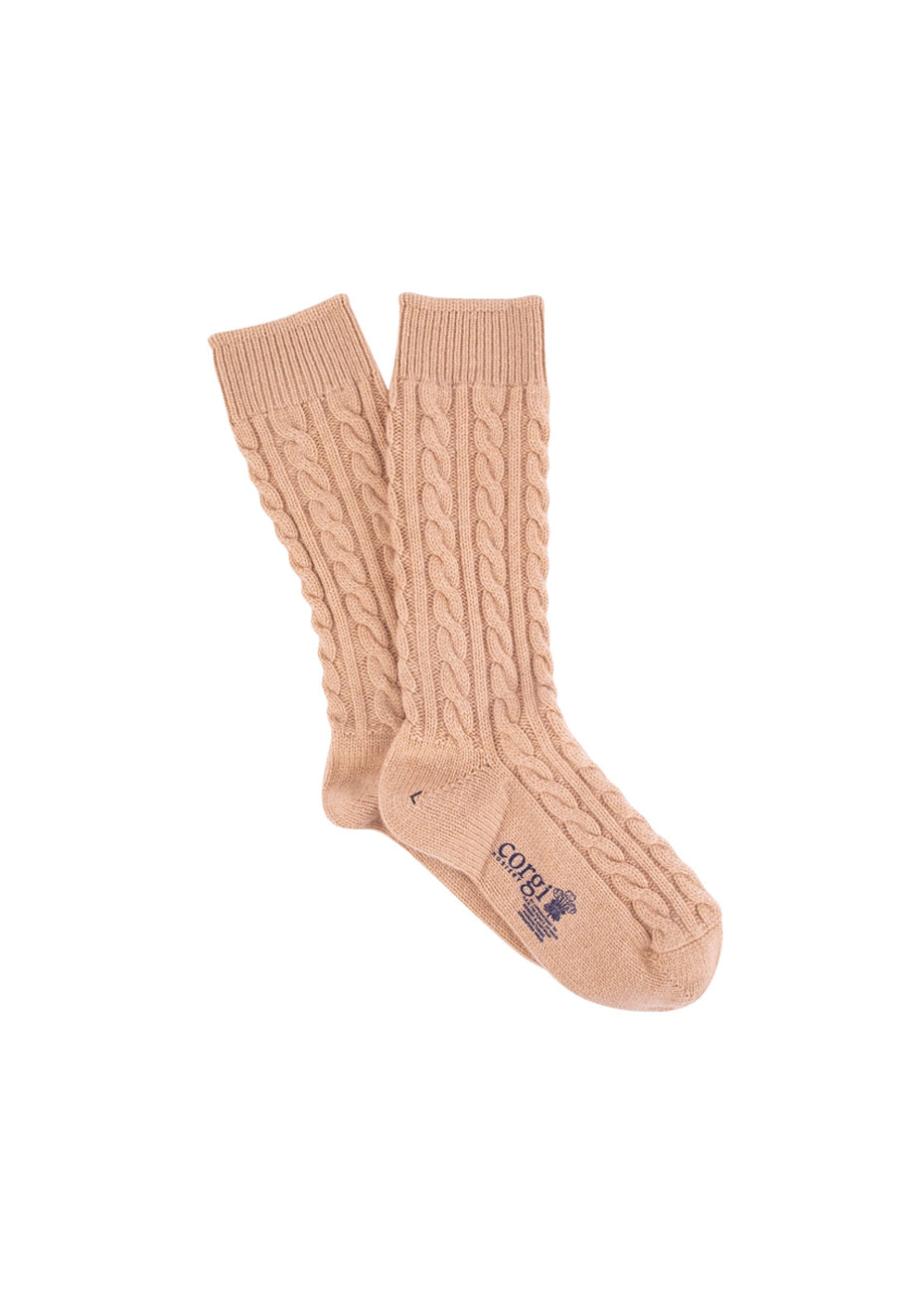 Women's Beige Cable Cashmere Socks