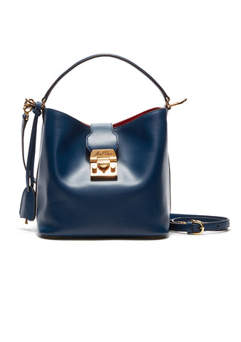 Mark Cross Navy Murphy Small Bucket Bag